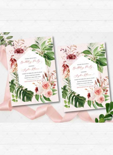 Boho Tropical Birthday Party Invitation