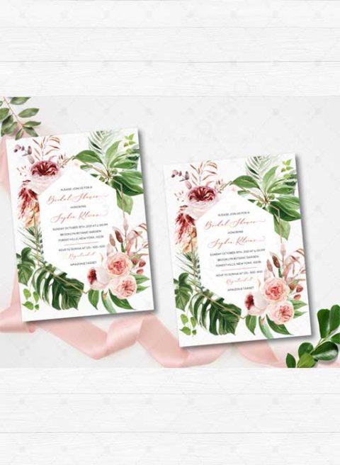 Boho Tropical Bridal Shower invitation