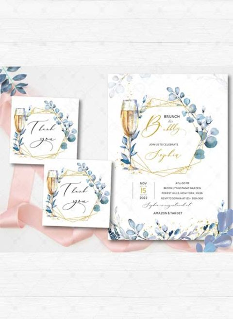Brunch & Bubbly Bridal Shower Invitation