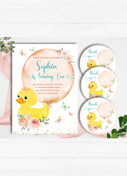 Duck Girl 1st Birthday Invitation