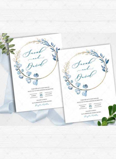 Dusty Blue Wedding Invitation Template