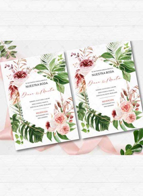 Español Floral Tropical Boda Invitaciones