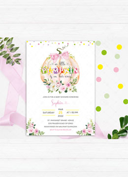 Girl Pink Pumpkin Baby Shower Invitation