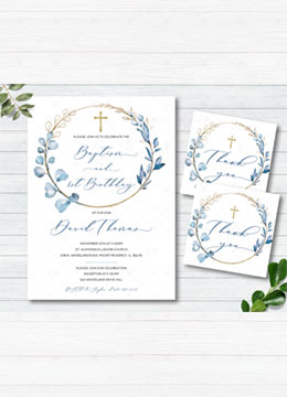 Invitation for Baptism and Birthday Baby Boy