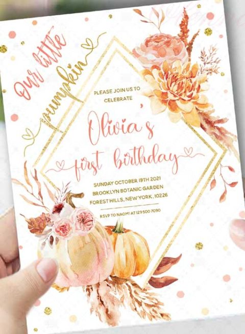 Little Pumpkin First Birthday Invitations Girls