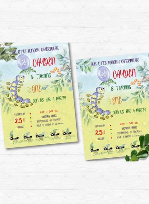 Printable The Very Hungry Caterpillar Invitation Template