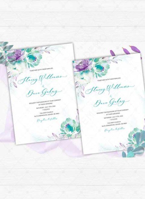 Purple and Teal wedding invitations
