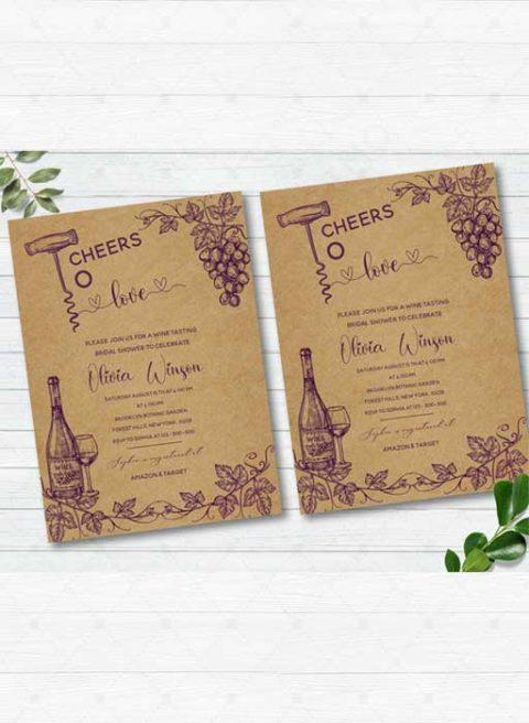Wine Tasting Bridal Shower Invitation Template