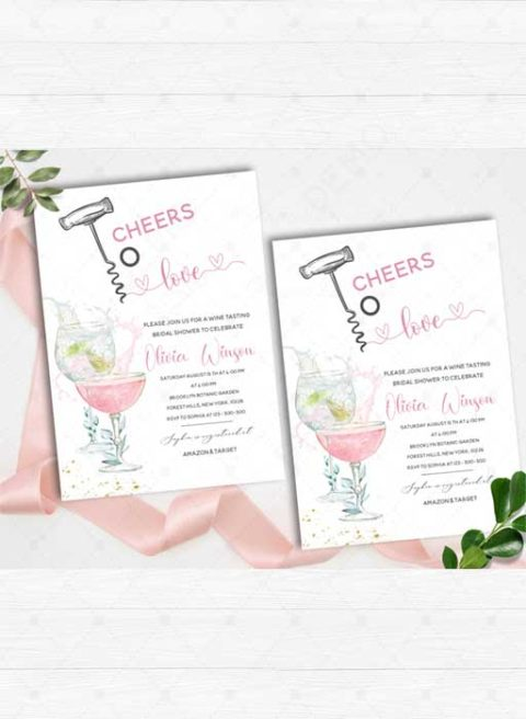 Cheers to Love Bridal Shower invitations