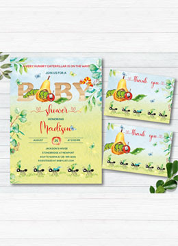 Hungry caterpillar baby shower invitations