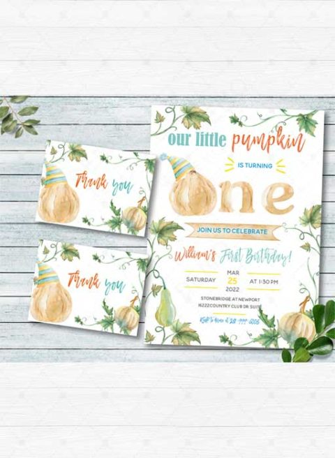 Our little pumpkin is turning one invitations boy