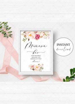 Floral Printable Mimosa Bar Sign