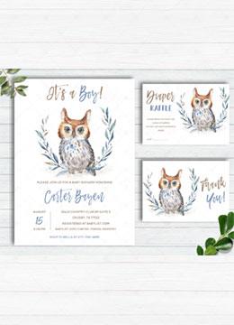 Owl Baby Shower Invitations Boy