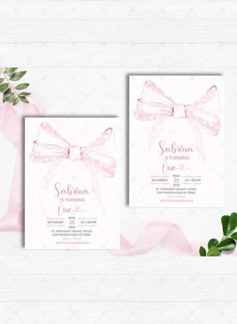 Pink Bow First Birthday Invitation