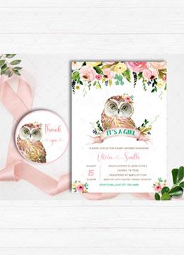 Pink Owl Girl Baby Shower Invitation