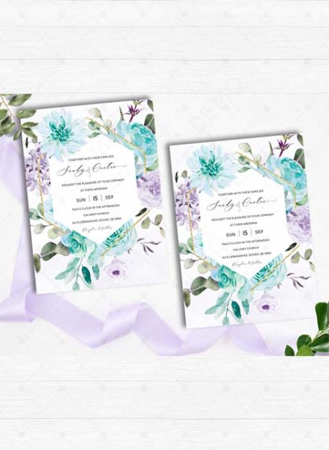Purple and Turquoise Wedding invitations template