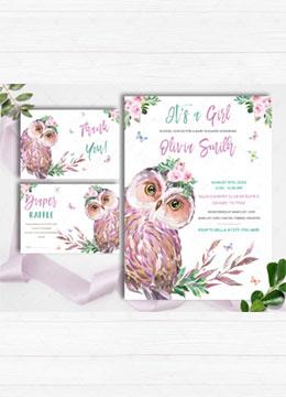 Purple Owl Baby Shower invitations